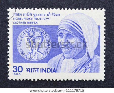 INDIA - CIRCA 1980: a postage stamp printed in India showing an image of mother Teresa, circa 1980.