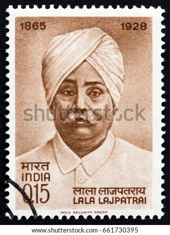 INDIA - CIRCA 1965: A stamp printed in India issued for the birth centenary of Lala Lajpat Rai shows social reformer Lala Lajpat Rai, circa 1965.