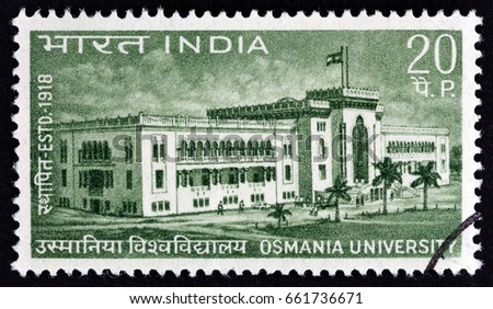 INDIA - CIRCA 1969: A stamp printed in India issued for the 50th anniversary of Osmania University shows Osmania University, circa 1969.