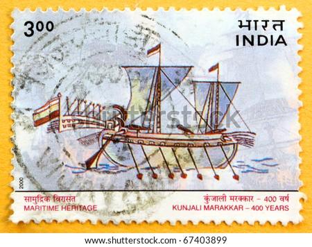 INDIA - CIRCA 2000: A stamp printed in India (present time India) shows Maritime Heritage, Kunjali Marakkar 400 years, circa 2000