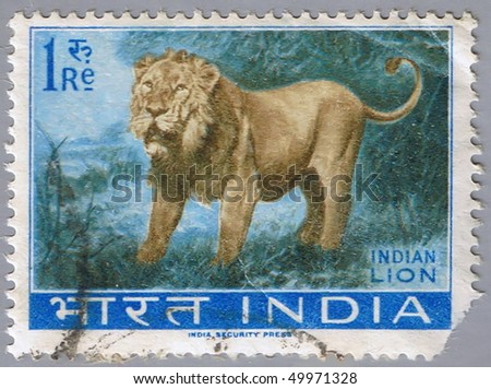 INDIA - CIRCA 1963: A stamp printed in India shows an Indian lion, series, circa 1963