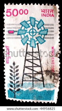 INDIA - CIRCA 2000: A stamp printed in India shows image of a wind turbine, circa 2000
