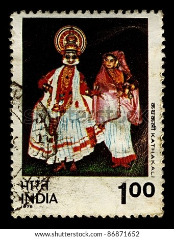 INDIA-CIRCA 1975:A stamp printed in India shows image of Kathakali is a highly stylized classical Indian dance-drama, circa 1975.