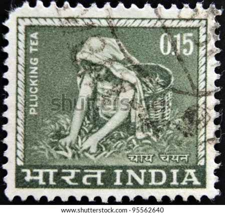 INDIA-  CIRCA 1965:A stamp printed in India shows image of tea pickers, circa 1965.