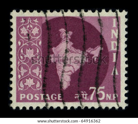 INDIA - CIRCA 1970: A stamp printed in INDIA shows image of the dedicated to the India, officially the Republic of India, is a country in South Asia, circa 1970.
