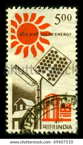 INDIA - CIRCA 1980: A stamp printed in INDIA shows image of the Solar energy, radiant light, has been harnessed by humans since ancient times using a range of ever-evolving technologies circa 1980