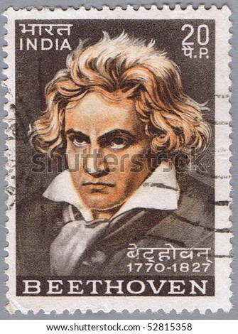 INDIA - CIRCA 1970: A stamp printed in India shows Ludwig van Beethoven, circa 1970