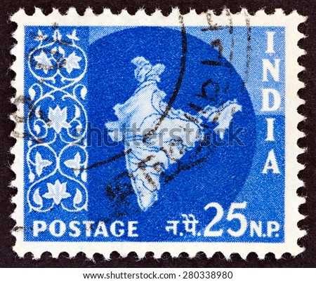 INDIA CIRCA 1957: A stamp printed in India shows map of India circa 1957.