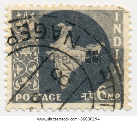 INDIA - CIRCA 1957: A stamp printed in India, shows map of India, circa 1957