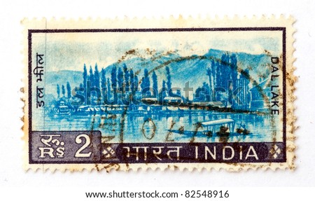 INDIA - CIRCA 1967: A stamp printed in India, shows the Dal lake in Kashmir, circa 1967