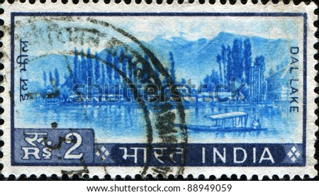 INDIA - CIRCA 1965: A stamp printed in India, shows the Dal lake in Kashmir, circa 1965