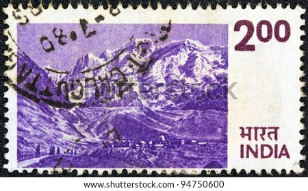 INDIA - CIRCA 1974: A stamp printed in India shows the Himalayas, circa 1974.