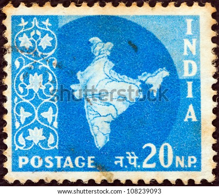 INDIA - CIRCA 1957: A stamp printed in India shows the map of India, circa 1957.