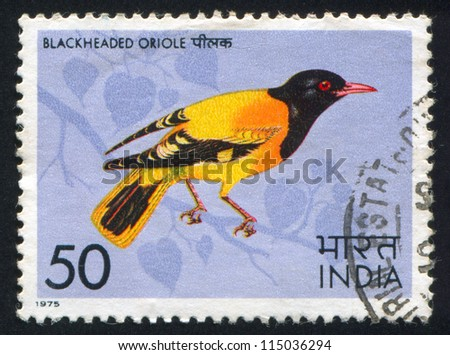 INDIA CIRCA 1975 stamp printed by India shows Black-headed oriole circa 1975
