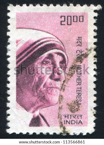 INDIA - CIRCA 1983: stamp printed by India, shows Mother Teresa, circa 1983