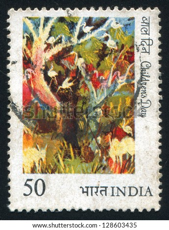 INDIA - CIRCA 1984: stamp printed by India, shows painting of birds in trees, circa 1984