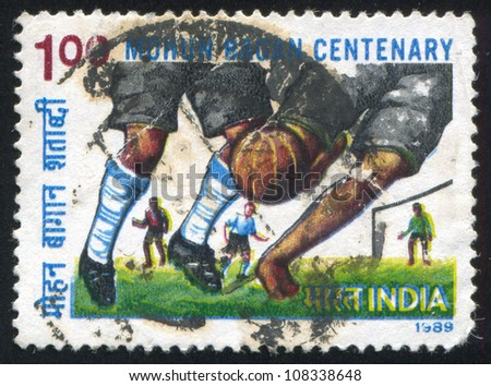 INDIA CIRCA 1989 stamp printed by India shows soccer circa 1989