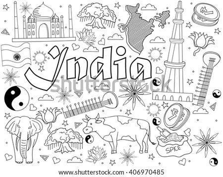 India coloring book line art design raster illustration. Separate objects. Hand drawn doodle design elements. #406970485