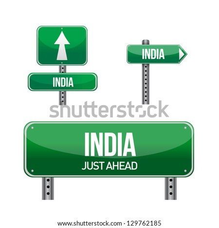 india Country road sign illustration design over white