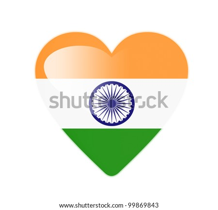 India 3D heart shaped flag