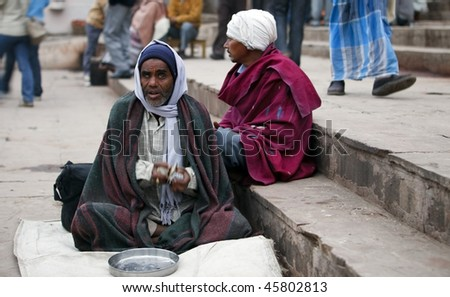INDIA - DECEMBER 31: Beggar in Varanasi, thousands of beggars are the most disadvantaged castes living in the streets, December 31, 2009 in Varanasi, India