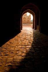India, Delhi. Safdarjung's Tomb. Central entrance at evening sunlight. Uttar Pradesh