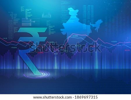 India Finance Background, India Economy background, stock market abstract dark blue background illustration with India map and rupee symbol, Indian Rupee background, Rupee, rupee currency