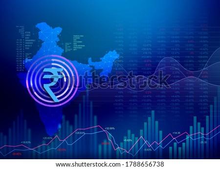 India Finance Background, India Economy background, stock market, union budget, abstract dark background illustration with India map and rupee symbol, Indian Rupee background, Rupee, rupee currency stock photo