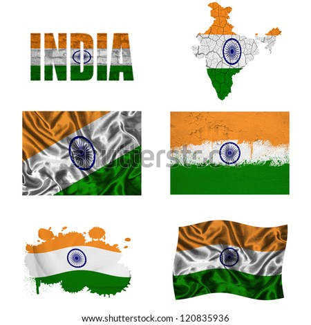 India flag and map in different styles in different textures
