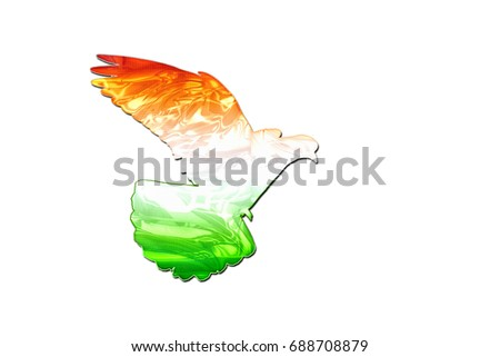 India flag on the silhouette of the dove ,creativity, symbols and signs , creativity, symbols and signs #688708879