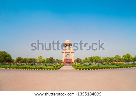India Gate and Canopy is a war memorial located at the Rajpath in New Delhi, India #1355184095