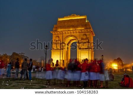 india gate in delhi - stock photo