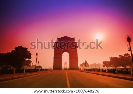 india gate most visited landmark at morning, new delhi, india #1007648296