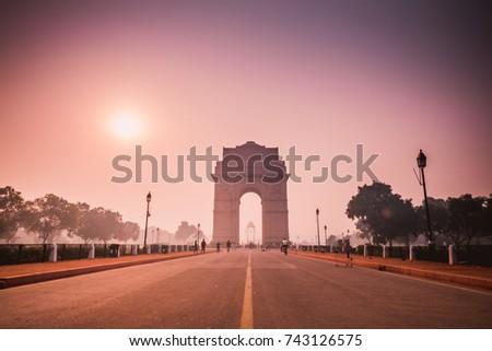 india gate, new delhi, india - morning sun rise  #743126575
