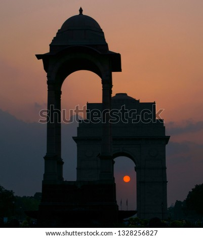 """India gate, New Delhi 2017  The India Gate is a war memorial located astride the Rajpath, on the eastern edge of the """"ceremonial axis"""" of New Delhi, India, formerly called Kingsway. #1328256827"""