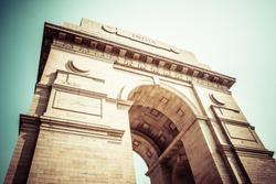 India Gate war memorial in New Delhi, India.
