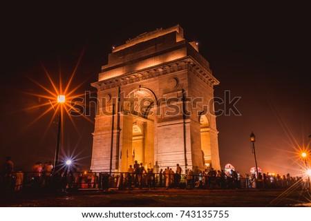 India Gate with Bright Lights at Night, Rajpath Marg, New Delhi, Delhi, India Photo stock ©