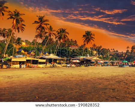 India Goa Beach on a sunset