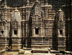 India, Himachal Pradesh, Kangra Fort.  Wall of the Lakshmi Narayan Temple.