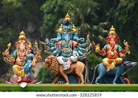 India Hindu Ganesh (Ganesha) god sculpture at Batu Caves old popular travel place Hinduism temple in Kuala Lumpur, Malaysia one of KL Landmark