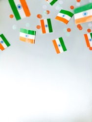 India Independence Day is August 15. Hindi. National flag on a foggy background. Defocusing.