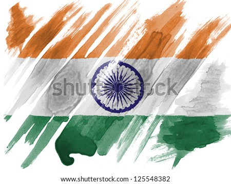 India. Indian flag  painted with watercolor on paper