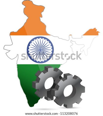 india map flag and gears illustration design over white
