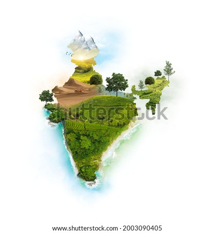 India Map. India Monuments. Environment. 3d illustration with isolated background