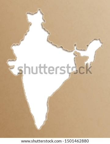India map. Indian maps craft paper texture. Empty template information creative design element.
