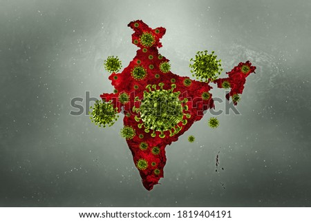 INDIA map with COVID-19 virus Coronavirus is spread to all over the world and infected to India. 3d rendering