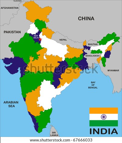 India map with states and boundary and flag - stock photo
