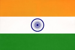 India national fabric flag, textile background. Symbol of international asian world country. Indian state official sign.