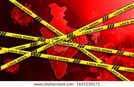 India national lockdown due to coronavirus crisis covid-19 disease. India under lockdown with india map 3D illustration