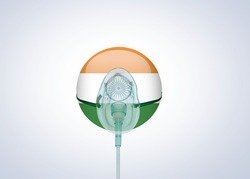 India need oxygen concept. Indian flag with oxygen mask concept of environment crisis. World oxygen crisis after coronavirus strain. World infected by coronavirus is receiving ventilation.